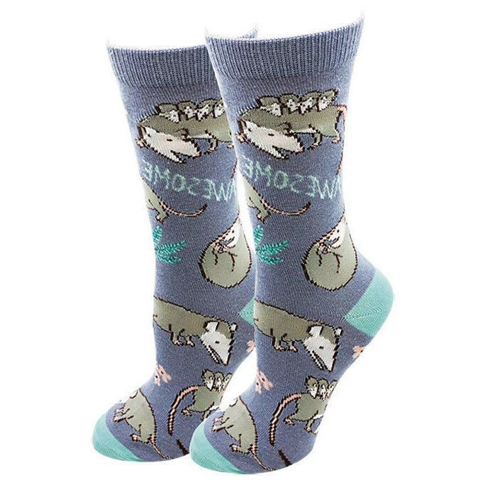 awesome possum women s crew socks blue