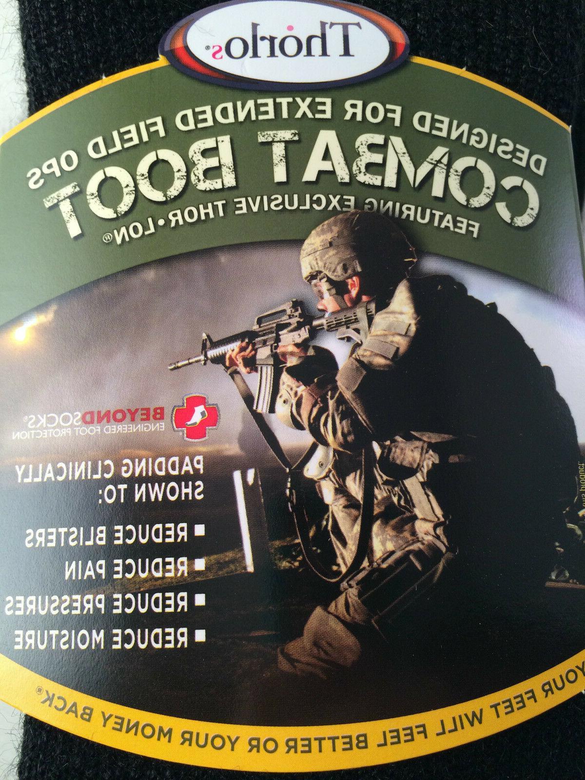 Thorlo Men's Combat Boot Overcalf Socks, Black, Large