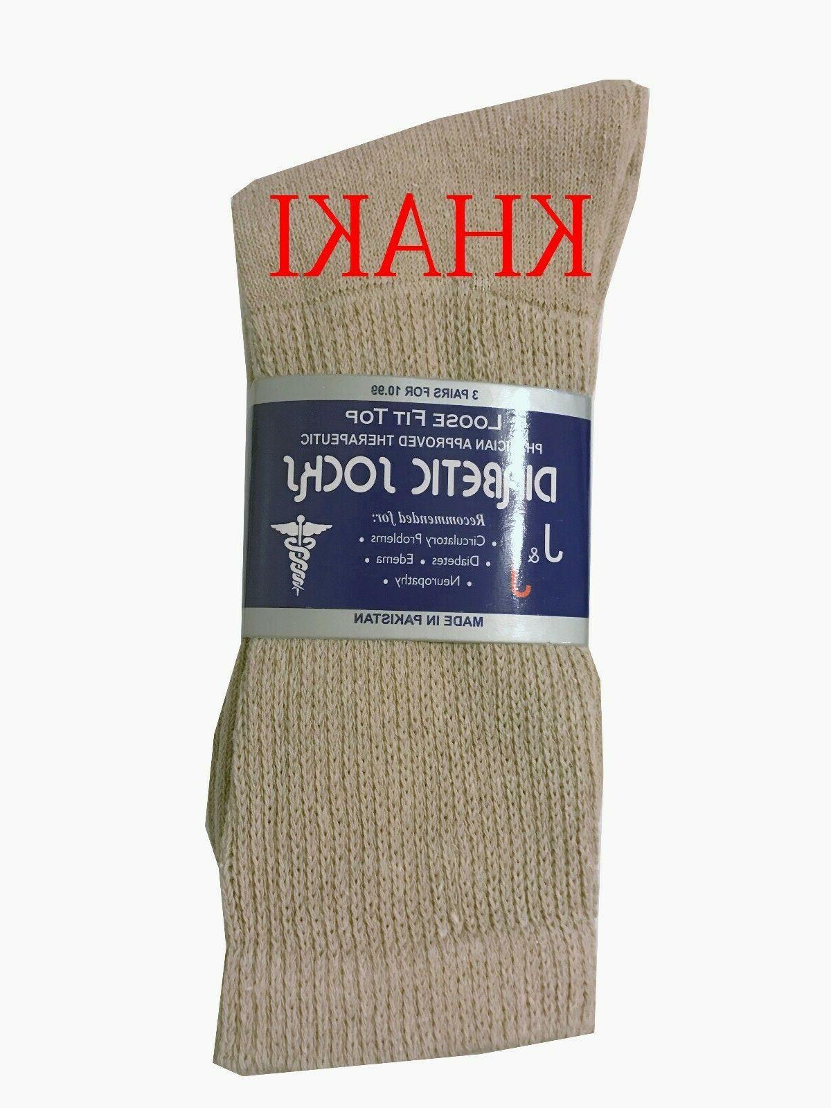Diabetic KHAKI CREW SOCKS circulatory Health Men's Cotton