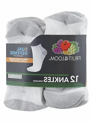 Fruit Of The Loom Dual Defense Socks, 12 White/Gray