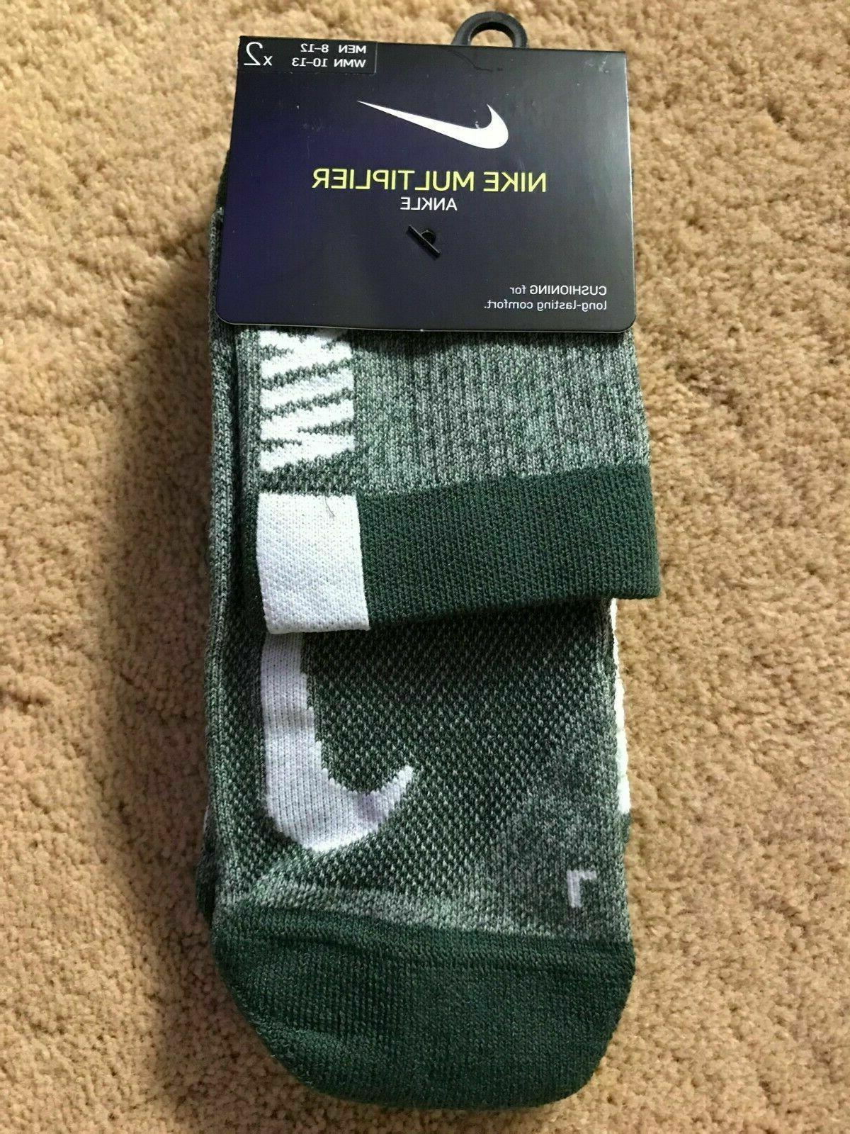multiplier ankle socks green white large 2