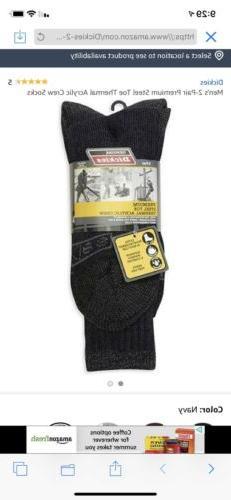 New Dickies Mens Black 2 Pack Crew Work Socks Industrial Str
