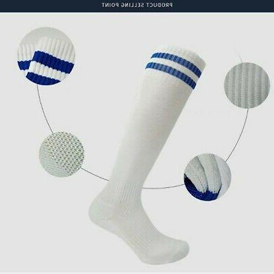 Soft Children Sport Football Soccer Long Socks Knee High Str