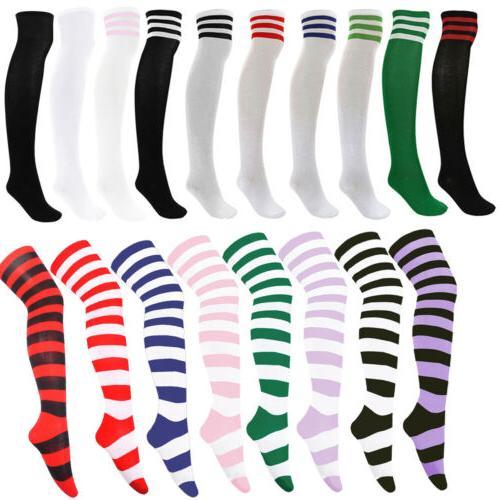 Women's Football Striped Thigh High Over The Knee Tube Socks