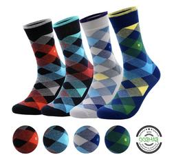 Men's Bamboo 4 Pair Socks - Soft Touch, Scented, Seamless, A