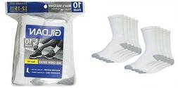 GILDAN Men's Big & Tall Mid Crew Socks,10 pair, White, $20.9