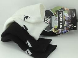 Men's ADIDAS Brand White Black Athletic 1/4 Crew Socks - 2 P