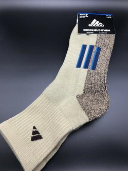 Men's Adidas Climalite Traxion Mid Crew Socks Khaki 2-Pack