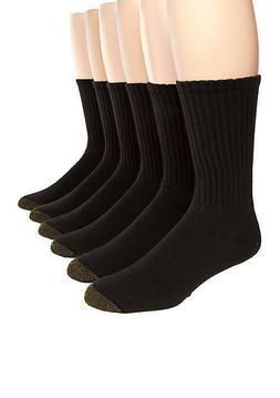 Gold Toe Men's Crew Socks White 6-Pair Sock Size 10-13 Cotto