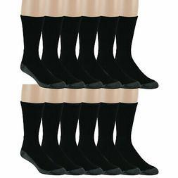 Men's Work Socks Crew 12 Pack Cushioned Sole Mesh Ventilatio