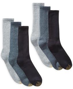 Gold Toe Men's Harrington Crew 6 Pack, Denim, Shoe Size: 6-1