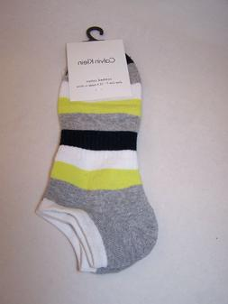Calvin Klein Men's No Show Liner Socks Striped Yellow Grey W