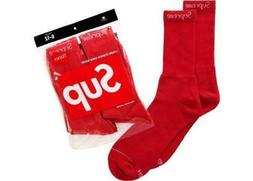 BOX LOGO CLASSIC 6-12 FW19 BRAND NEW 1 PAIR MEN/'S SUPREME SOCKS HANES CREW RED