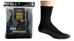 "FRUIT OF THE LOOM Men's ""Work Gear"" Socks, Blk, Large, 6 pr"