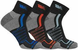 New Balance Mens 3-pk. Multi Stripe Ankle Socks Large Black