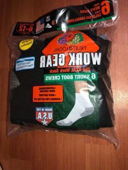 Fruit Of The Loom Mens Black 6 Pack Work Gear Crew Socks Siz