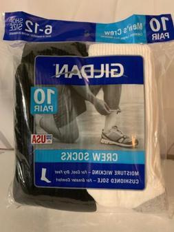 Gildan Men's Crew Socks 10 Pairs Size 6-12 White & Black N