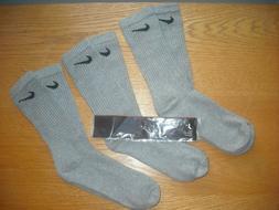 Mens Nike Crew Socks NWT LOW PRICE 3prs Cotton Gray Authenti