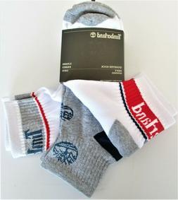 Timberland Mens' Quarter Length Socks White & Gray OSFM 3 Pa
