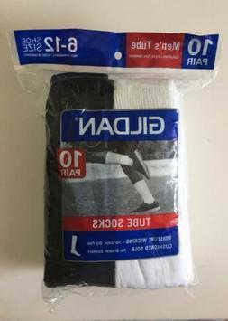 Gildan Men's Tube Socks 10 Pairs Size 6-12 White & Black N