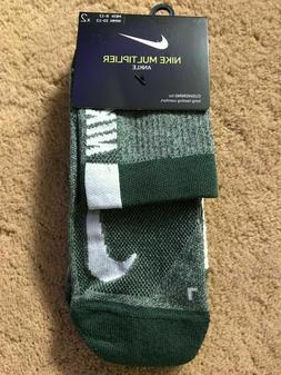 Nike Multiplier Ankle Socks Green White Large 2 Pair SX7556-