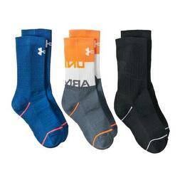 New Under Armour Boys Phenom 5.0 3-Pack Crew Socks Size 13.5