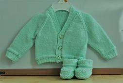 New Hand Knitted Baby Clothes Girl Cardigan & Booties, Shoes