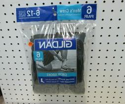 New Men's 6 Pairs Gildan Black  Moisture Wicking Cushioned C