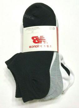 NEW New Balance Mens No Show Low Cut Socks 6 Pair Size L