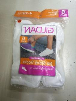 New Woman GILDAN White No Show Socks   Packs of 6 Comfort To