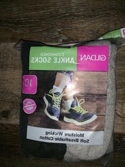 Gildan ~ NWT Women's 10-Pair Ankle Socks White Cushioned Gra