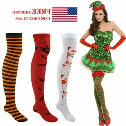 Pair Over Knee High Long Socks Women Striped Thigh Stockings