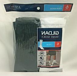 Gildan Smart Basics Men's Crew Socks 6 Pairs Soft Durable