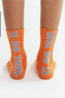 Nike Sneaker Socks 2 Pairs Crew Orange/Grey Mens Size 8-12 S