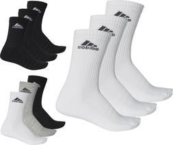 Adidas Socks 3 Pairs Men's Women's Unisex Crew Cotton Sport