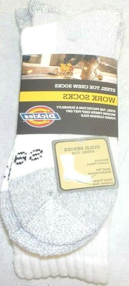 Dickies Men's 2 Pack Steel Toe Crew Socks, White, 10-13 Sock