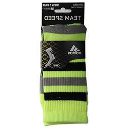 adidas Team Speed Crew Sock, Solar Slime/Black, Size Medium