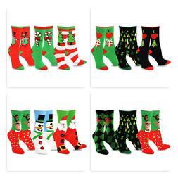TeeHee Christmas and Holiday Fun Crew Socks for Women 3-Pack