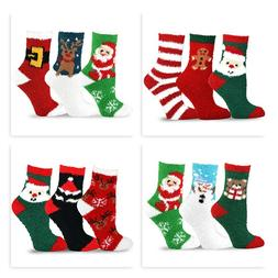 TeeHee Christmas Holiday Cozy Fuzzy Crew Socks 3-Pack for Wo