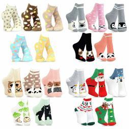 TeeHee Fashionable Cozy Fuzzy Slipper Crew Socks Girl Women