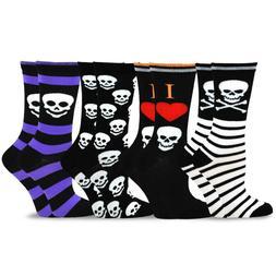 TeeHee Novelty Happy Halloween Fun Crew Socks for Women 4-Pa