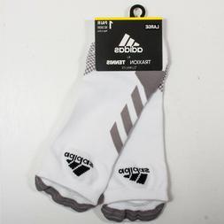 Adidas Traxion No Show Tennis Socks White and Light Onix Siz