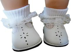 White T-Strap Shoes Lace Trim Socks fits Bitty Baby + Twins