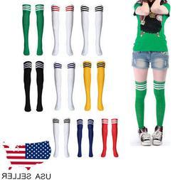 Women Knee High Athletic Soccer Tube Socks Solid Long Footba