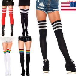 Women Girls Striped Thigh High OVER the KNEE Socks Long Cott