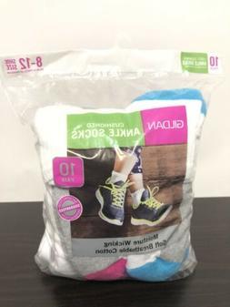 Women's Gildan Ankle Socks 10 Pack Moisture Wicking White La