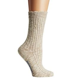 Birkenstock Women's Cotton Slub 1 pack Socks, Beige/White US
